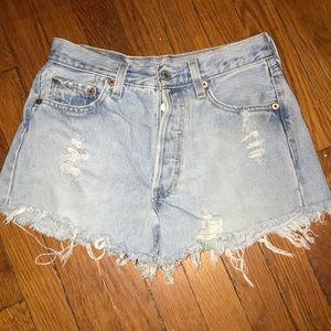 Levi's 501 distressed shorts
